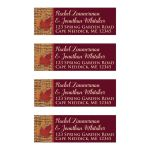 Personalized burgundy wine and burnt orange return address mailing labels with burlap, and fall leaves in red, orange, and gold.