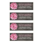Address Labels - Rustic Pink Peony Wood Brown