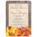 Bridal Shower Invitations - Fall Rustic Wood and Leaves