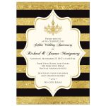 ​Black, Ivory and gold foil striped 50th wedding anniversary invitation with formal gold chandelier.