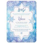 Frozen blue, purple, and white snowflakes winter Bat Mitzvah invitation.