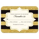​Black, Ivory and gold foil striped 50th wedding anniversary rsvp response reply enclosure insert card with formal gold chandelier.