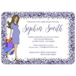 Sparkly Lilac Confetti Baby Shower Invitation for baby boy or girl or twins