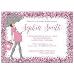 Sparkly Pink Confetti Baby Shower Invitation for new baby girl