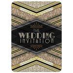 Art Deco Wedding Invitation | Black+Gold Glitter Look 5x7