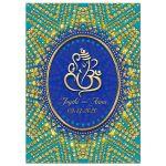 Eastern Turquoise Gold Ganesh Indian Wedding Invitation