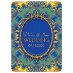 Glitter Gold & Blue Ganesha Wedding Invitation