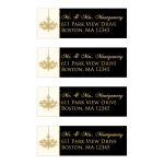 Personalized black, ivory, and gold foil formal chandelier 50th wedding anniversary return address mailing labels.