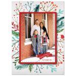 Festive watercolor foliage Christmas holiday family photo card