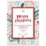 Watercolor foliage Merry Christmas holiday card