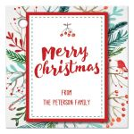 Merry Christmas watercolor foliage gift tags