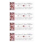 Personalized red, silver grey floral FAUX glitter damask pattern address mailing labels with assorted white snowflakes on them.
