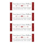 Personalized white and red FAUX glitter address mailing labels with decorative ornament with arrows at both ends and a red snowflake in the center.