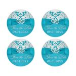 turquoise or teal blue and silver grey floral wedding save the date envelope seals or wedding favor stickers with joined jewel and glitter hearts buckle, ribbon and bow.
