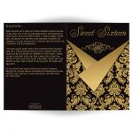 Black and gold damask Sweet Sixteen birthday party invitation card with gold scroll work frame.