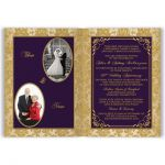 ​Royal purple and gold damask 50th wedding anniversary invitations with gold scroll work frame.
