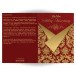 Red and gold Victorian damask pattern 50th wedding anniversary invitation with gold scroll work frame..