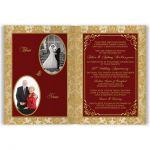 Red and gold baroque damask golden wedding anniversary invites with gold scrollwork frame..