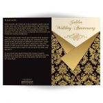 Black, Ivory, and gold damask double photo golden 50th wedding anniversary invitation card with gold scroll work frame.
