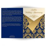 Navy blue, Ivory, and gold damask double photo template golden 50th wedding anniversary invite card with gold scroll work frame.