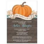 Baby Shower Invitations - Rustic Pumpkin Orange Teal and Wood