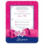 ​Best royal blue, pink, and white floral pattern wedding response reply RSVP enclosure card insert with ribbon, glitter and a pair of jeweled double joined hearts buckle brooch on it.