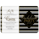 Stylish Black & Gold Stripes Girls Night Out Bachelorette Party