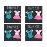 Touchdowns or Tutus Square Favor Sticker Thank you