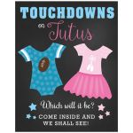 Touchdowns or Tutus Custom Gender Reveal Sign 11x14