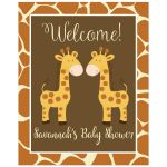 Twin Baby Shower Welcome Sign | Twin Giraffes