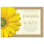 Rustic burlap, lace, and yellow gerbera daisy wedding invitation front