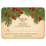 Traditional vintage evergreen branches, pine cones and holly berries Christmas wedding RSVP card front
