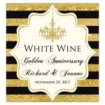 ​Black, Ivory and gold foil striped 50th wedding anniversary or wedding wine bottle or beverage bottle label with formal gold chandelier.