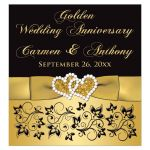 50th wedding anniversary wine or beverage bottle label with joined jewel and glitter hearts, gold ribbon, bow, scrolls, and flowers on a black and gold background.