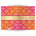 Affordable Indian or Hindu wedding card invitation in fuchsia pink, orange and gold damask pattern with glitter and ornate scroll.