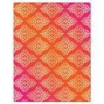 ​Affordable Indian or Hindu wedding reply response rsvp enclosure card insert in hot fuchsia pink, orange and gold damask pattern with glitter and ornate scroll.