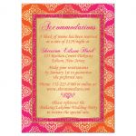 ​Affordable Indian or Hindu wedding accommodations and reception enclosure card insert in hot fuchsia pink, orange and gold damask pattern with glitter and ornate scroll.