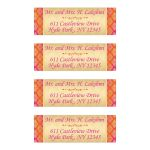 These personalized mailing labels in hot pink and orange side borders with a gold damask pattern and a fuchsia pink scroll as decoration.