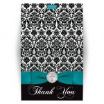 ​Best teal, black and white damask confirmation, first communion, baptism thank you card with a printed ribbon, bow, jeweled brooch with silver cross and a teal dove.