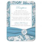 Winter wonderland wedding reception, accommodations response enclosure card insert in ice blue, silver, and white snowflakes with ribbon and crystal buckle.