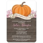 Baby Shower Invitations - Rustic Pumpkin Orange Pink and Wood
