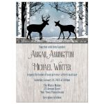 Wedding Invitations - Deer Rustic Blue Winter Snowflakes