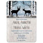 Wedding Invitations - Deer Rustic Blue Winter Snowflakes