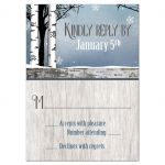 RSVP Reply Cards - Deer Rustic Blue Winter Snowflakes