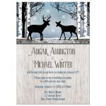 Reception Only Invitations - Deer Rustic Blue Winter Snowflakes