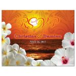 Beautiful sunset beach tropical destination wedding RSVP postcard front