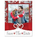 Winter wonderland photo wedding save the date card in red, silver grey, and white snowflakes with ribbon and joined jewel and glitter hearts.