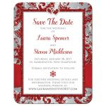 Great winter wonderland photo wedding save the date card in red, silver grey, and white snowflakes with ribbon and joined jewel and glitter hearts.