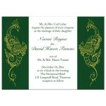 Green and White Peacock Wedding Invitation