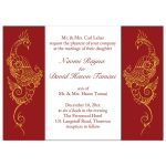Red and White Peacock Wedding Invitations